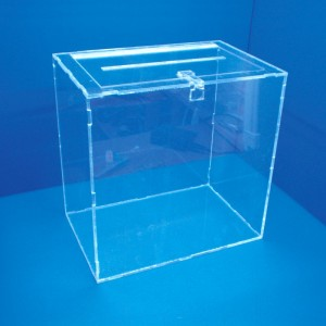 Display of voting booth with padlock lid on table