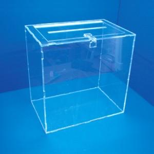 Expositor urna de votació amb tapa per cadenat sobre taula
