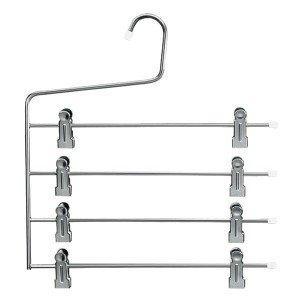 Percha de metal 4 barras con pinzas 34 cm.