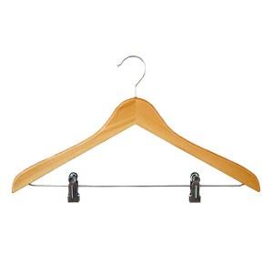 Buchenholz Kleiderbügel mit Clips 45 cm.