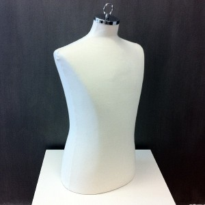 Male bust form for sewing or exhibiting clothes with cap to hang