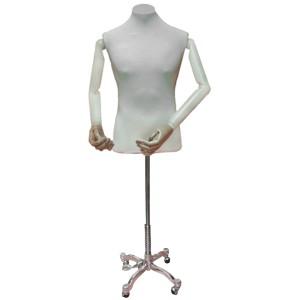 Buste de Chevalier avec bras articulés + Base métallique à quatre pieds avec roues + Tenon en métal plane pour bustes