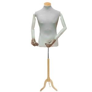 Pack Maniquí busto caballero con brazos articulados + base de madera trípode  + tapa de madera plana