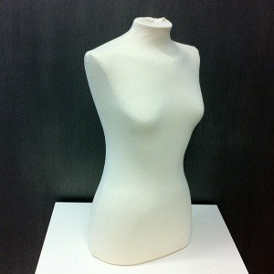 Female bust form for sewing or exhibiting clothes
