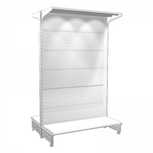 Shelving 2 sided of 1,5 m. high with perforated panel
