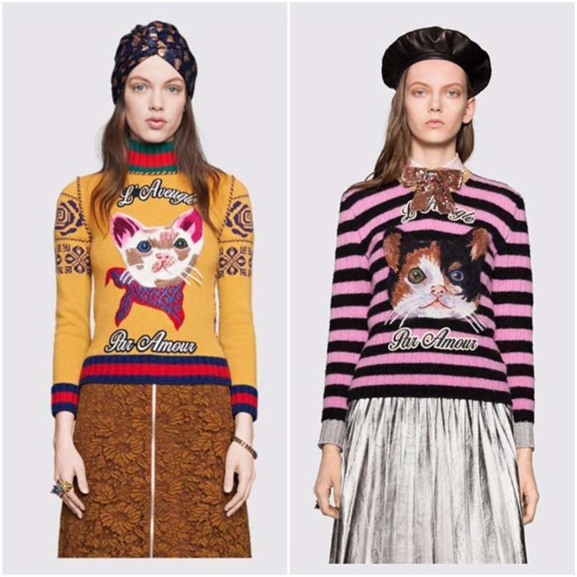 la colección Pre-Fall del 2016 de Gucci, a cual incluía gatitos en numerosos productos como suéteres; la colección también incluía accesorios con el felino como protagonista